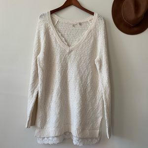 Anthropologie Oversized Cream Lace Sweater